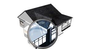 Lupa que examina uma casa. Arquitetura e propriedade de casa
