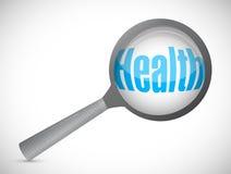 Lupa que muestra palabra de la salud Imágenes de archivo libres de regalías