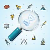 Lupa realista de la investigación de la ciencia con la línea fina concepto del icono libre illustration