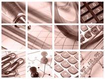 Lupa, regla, contactos y calculadora imagen de archivo