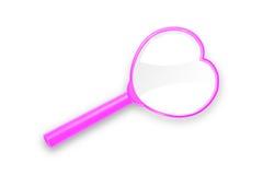Lupa rosada del corazón imagen de archivo