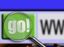 A lupa sobre o indicador de navegador vai tecla Fotografia de Stock Royalty Free
