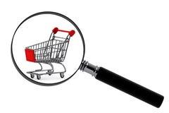 Lupa y carretilla de las compras Imagen de archivo