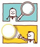 Lupa y linterna ilustración del vector