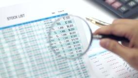 Lupe, die Aktienpreise zeigt stock video