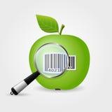 Lupe, die Strichkode auf grünem Apfel sucht Lizenzfreie Stockfotografie
