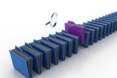 Lupe mit Dateiordner Stockbilder