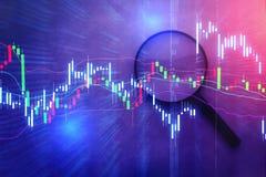 Lupe mit Geschäft DIAGRAMM-DIAGRAMM-ANALYSE Lizenzfreies Stockfoto