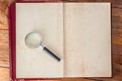 Lupe und alte Bücher lizenzfreies stockfoto