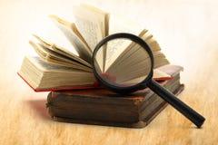 Lupe und Bücher Lizenzfreies Stockfoto