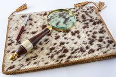 Lupe und Kugelschreiber Pen Lying On Leather Folder Stockfoto