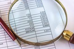 Lupen-Untersuchungsgeschäftsdokument Lizenzfreie Stockbilder