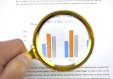 Lupenlautes summen auf einem Geschäftsdiagramm Stockbild