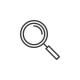 Lupenlinie Ikone, Entwurfsvektorzeichen, lineares Artpiktogramm lokalisiert auf Weiß lizenzfreie abbildung