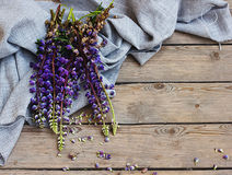 Lupine on background of burlap Stock Photos