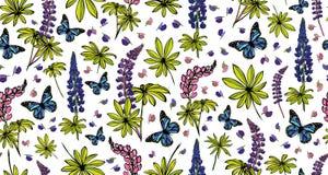 Lupines en vlinders Royalty-vrije Stock Afbeeldingen