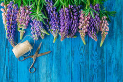 Lupines Flowers on wooden background Royalty Free Stock Photos