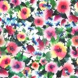 Lupins roses de delphinium de mauve de bleuets de beaux beaux wildflowers colorés floraux lumineux mignons avec le modèle de bour Photographie stock libre de droits