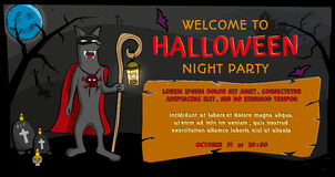 Lupo con la lampada su fondo dell'invito di Halloween del castello e della luna Testo benvenuto del campo del partito di notte di Fotografia Stock