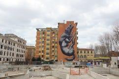 Lupo dei graffiti a Roma Fotografia Stock