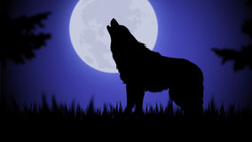 Lupo di luce della luna Immagini Stock Libere da Diritti