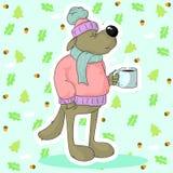 Lupo divertente che beve tè caldo immagine stock libera da diritti