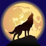 Lupo-luna-siluetta Fotografia Stock Libera da Diritti
