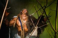 Lupo mannaro vizioso con una pelle sulla suoi spalla e chiodi lunghi Amon immagine stock libera da diritti