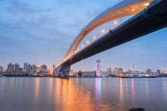 Lupu bridge in nightfall Stock Photo