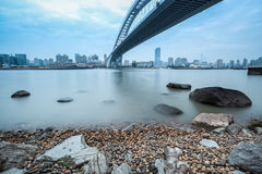 The lupu bridge over huangpu river in shanghai Stock Photography