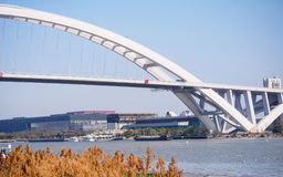 Lupu bridge in sunny day, Shanghai, China Royalty Free Stock Images