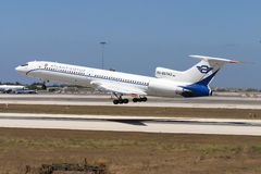 Luqa,马耳他2005年7月2日:图-154离开 免版税库存照片