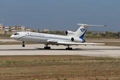Luqa,马耳他2005年7月2日:图-154离开 图库摄影