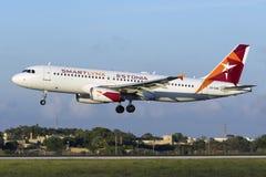Luqa,马耳他2015年10月5日:A320着陆 库存图片