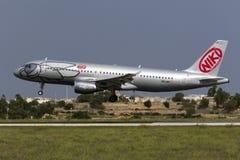 Luqa,马耳他2015年10月8日:A320着陆 图库摄影