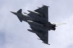 Luqa,马耳他- 2015年9月28日:Eurofighter离开 免版税库存照片