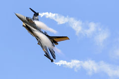Luqa,马耳他- 2015年9月27日:F-16显示 免版税库存图片