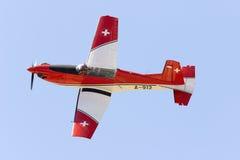 Luqa, Μάλτα - 27 Σεπτεμβρίου 2015: Ελβετός PC-7 Στοκ Φωτογραφίες