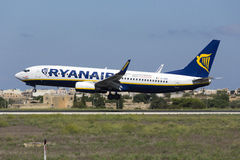 Luqa, Μάλτα - 10 Σεπτεμβρίου 2015: Ryanair 737 Στοκ φωτογραφία με δικαίωμα ελεύθερης χρήσης
