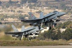 Luqa, Μάλτα στις 29 Σεπτεμβρίου 2014: Ελβετικό F/A-18 Hornets Στοκ φωτογραφία με δικαίωμα ελεύθερης χρήσης