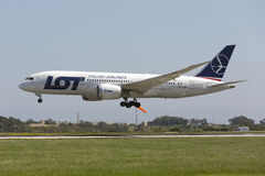 Luqa, 14 April 2015: LOT Dreamliner landing. Stock Photography