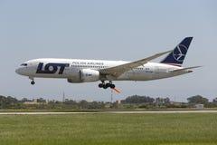 Luqa, 14 April 2015: LOT Dreamliner landing. Stock Photography
