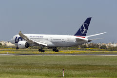 Luqa, 14 April 2015: LOT Dreamliner landing. Royalty Free Stock Image
