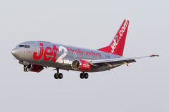 Luqa, 3 August 2015: Jet2 737 landing. Stock Photos