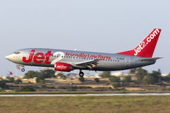 Luqa, 3 August 2015: Jet2 737 landing. Royalty Free Stock Image