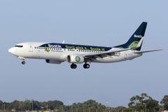Luqa, 4 August 2015: Transavia France 737 landing. Royalty Free Stock Images