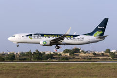 Luqa, 4 August 2015: Transavia France 737 landing. Royalty Free Stock Image