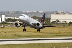 Luqa, Malta, 26 April 2015: Airbus 319 takes off. Royalty Free Stock Photography