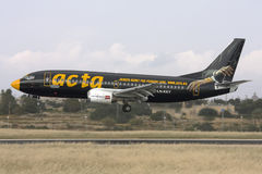Luqa, Malta, 26 April 2008: Boeing 737-300 landing. Stock Photography