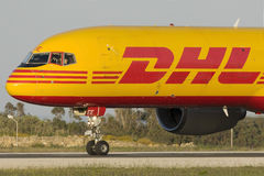 Luqa, Malta 28 April 2015: DHL Boeing 757 prepares for take off. Royalty Free Stock Image